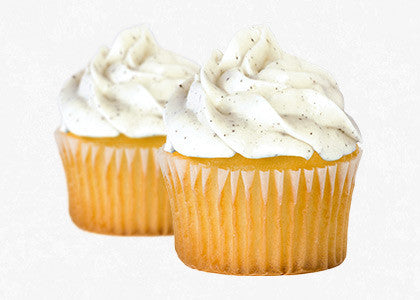 Vanilla bean cupcake with vanilla bean frosting mix