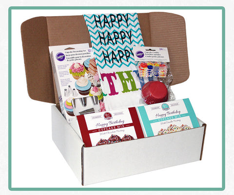 Happy Birthday Cupcake Gift Set - Baking Box