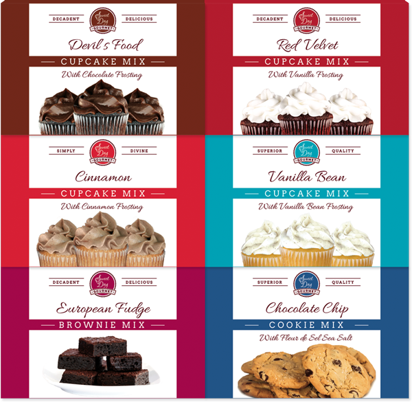 Gift Set of Gourmet Baking Mixes with cupcakes, cookies and brownies