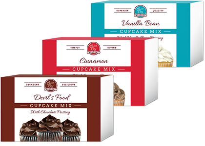 cupcake gift set Devils Food, vanilla bean and Cinnamon