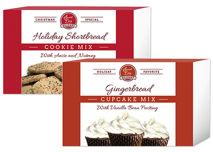 Gingerbread cupcake mix and Holiday shortbread cookie mix