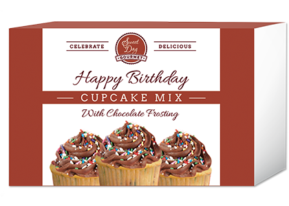 Happy Birthday Cupcake Mix with Chocolate Frosting and Sprinkles