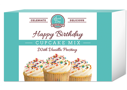 Happy Birthday Cupcake Mix with Vanilla Frosting and Sprinkles