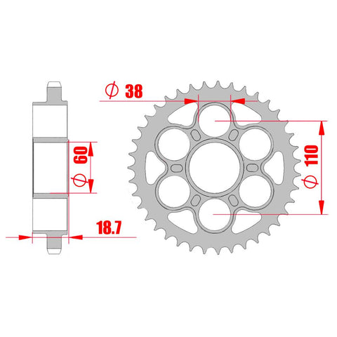 SPROCKET REAR MTX 50901 39T #525