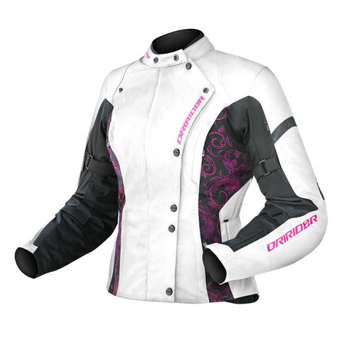 Dririder Vivid Ladies Motorcycle Jacket - Crystal/White/Pink