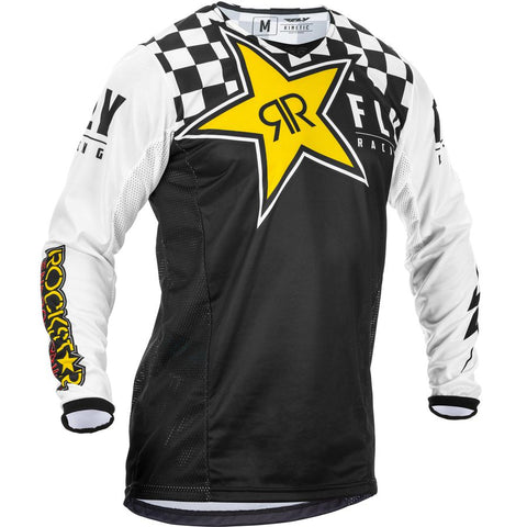 Fly Racing Kinetic Rockstar Motorcycle Jersey   - Black/White/Yellow
