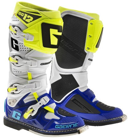 Gaerne SG-12 Boots- White/Blue/Yellow/fluro