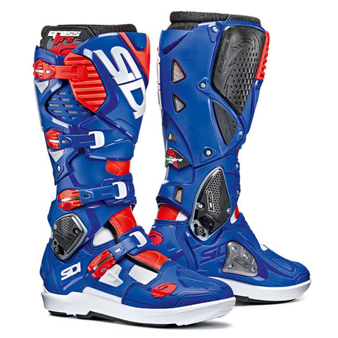 Sidi Crossfire 3 SRS Motorcycle Boots - White/Blue/Red/Fluro
