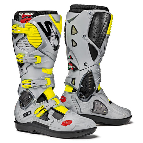 Sidi Crossfire 3 SRS Motorcycle Boots - Black-ASH-Yellow-Fluro
