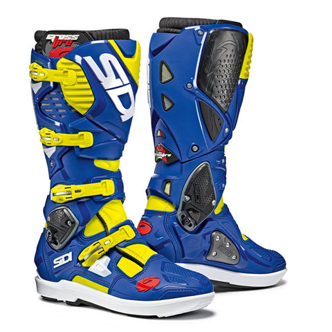 Sidi Crossfire 3 SRS Motorcycle Boots - Yellow/Fluro/Blue