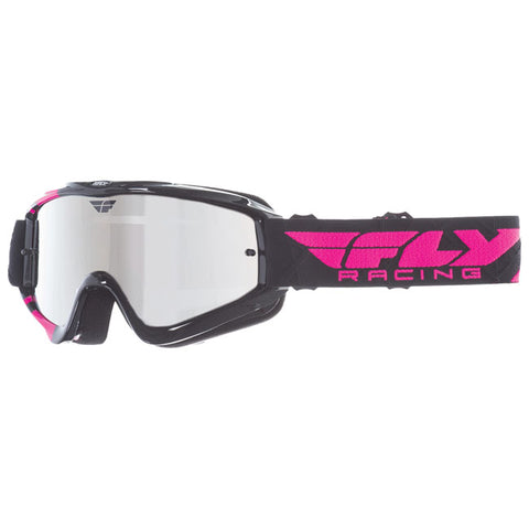 Fly Racing Zone Pro Youth Goggles With Chrome Smoke Lens - Black/Pink