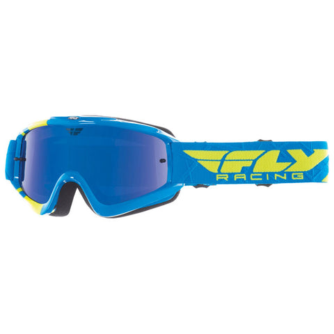 Fly Racing Zone Pro Youth Goggles With Blue Chrome Smoke Lens - Blue/Hi-Vis
