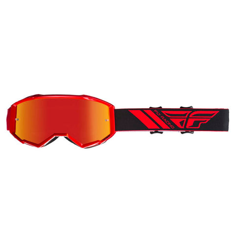 Fly Racing Zone Pro Youth Goggles With Red Mirror Smoke Lens  - Red