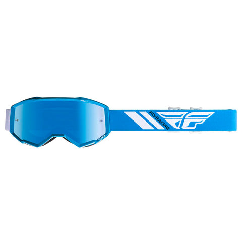 Fly Racing Zone Pro Youth Goggles With Sky Blue Mirror Smoke Lens  - Blue