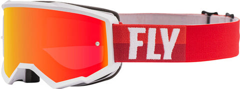 Fly Racing Zone Goggles With Red Mirror Brown Lens W/Post - White/Red