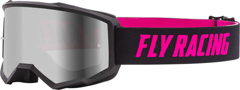 Fly Racing Zone Pro Youth Goggles With Dark Smoke Lens W/Post - Black/Pink