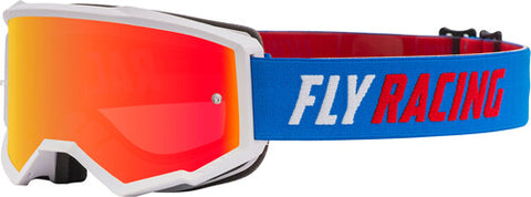 Fly Racing Zone Pro Youth Goggles With Red Mirror Smoke Lens W/Post - Blue/White/Red