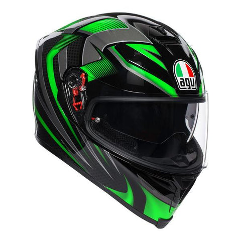 AGV K-5 S Hurricane 2.0 Motorcycle Helmet -  Black/Green