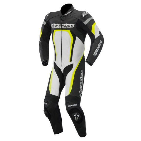 Alpinestars 2015 Motegi 1-Piece Motorcycle Leather Suit - Black/White/Yellow