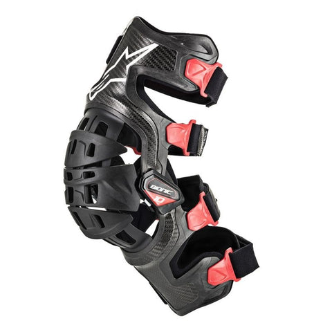 Alpinestars Bionic 10 Carbon Motorcycle Knee Brace - Left - Black/Red