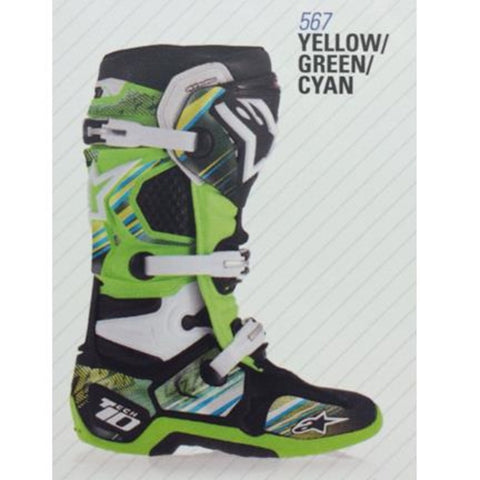 Alpinestars 14 Tech 10 Graphic Decal Kits -  Yellow/Green/Cyan