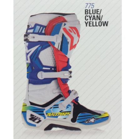 Alpinestars 14 Tech 10 Graphic Decal Kits - Blue/Cyan/Yellow