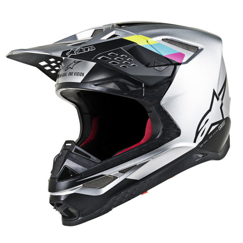 Alpinestars MX 2019 S-M8 Contact Motocross Helmet - Silver/Black