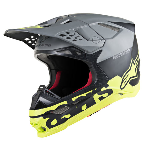 Alpinestars MX 2019 S-M8 Radium Motocross Helmet - Black/Fluro/Grey