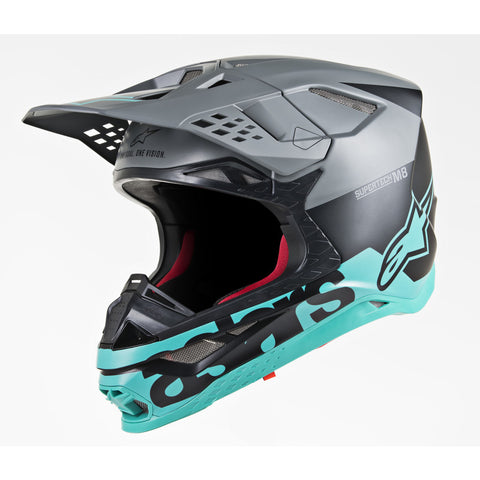 Alpinestars MX 2019 S-M8 Radium Motocross Helmet - Black/Teal/Grey