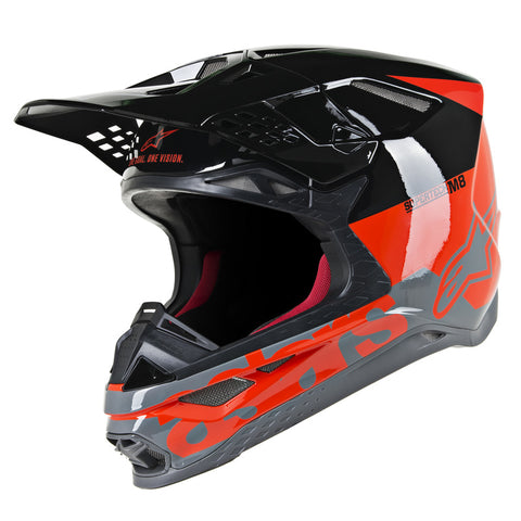 Alpinestars MX 2019 S-M8 Radium Motocross Helmet - Fluro Red/Black