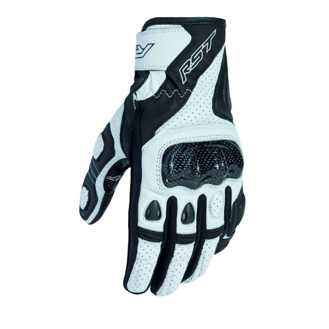 RST Stunt III CE Motorcycle Gloves   - Black/White