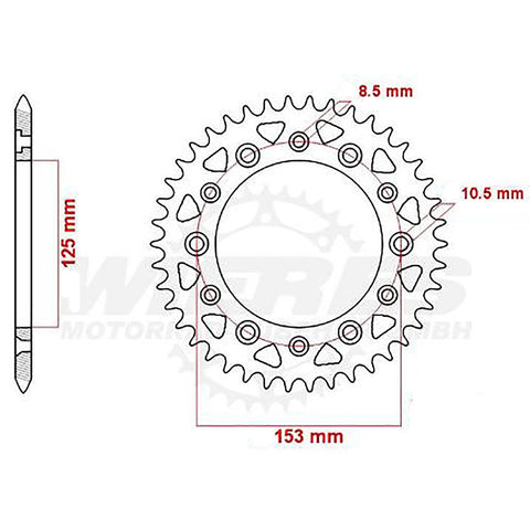 SPROCKET REAR MTX 210 / 301 45T #520