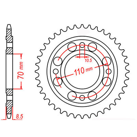 SPROCKET REAR MTX 247 36T #520
