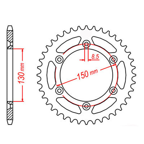 SPROCKET REAR MTX 245/2 42T #520