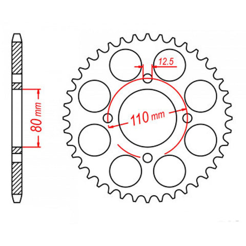 SPROCKET REAR MTX 333 43T #630