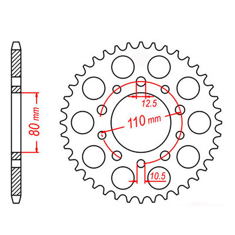 SPROCKET REAR MTX 1334 45T #530