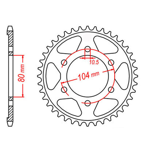 SPROCKET REAR MTX 1489 41T #525