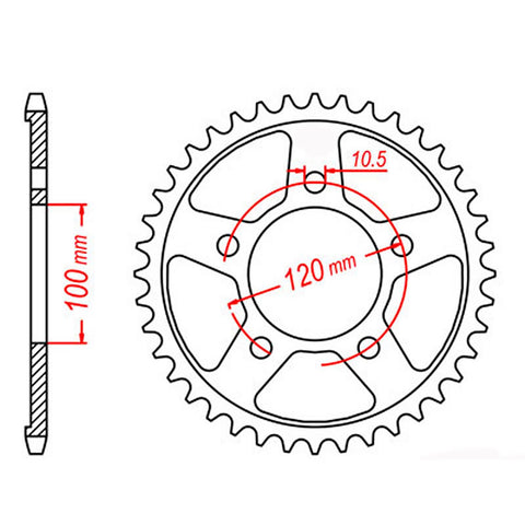SPROCKET REAR MTX 702 46T #525