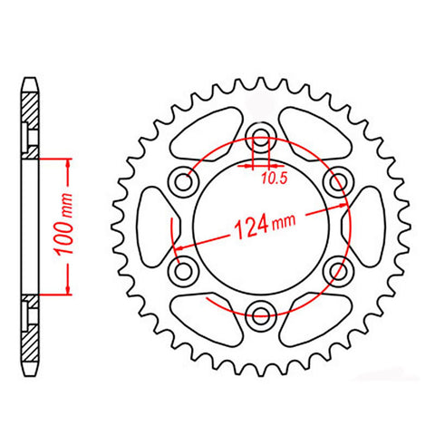 SPROCKET REAR MTX 745 39T #525