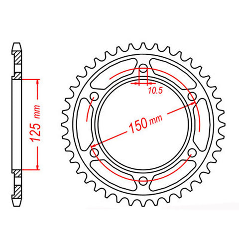 SPROCKET REAR MTX 899 46T #428