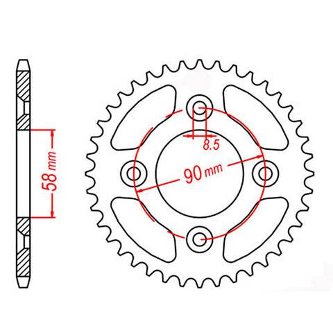 SPROCKET REAR MTX 1213 37T #420