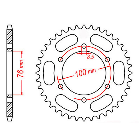 SPROCKET REAR MTX 1844 42T #428