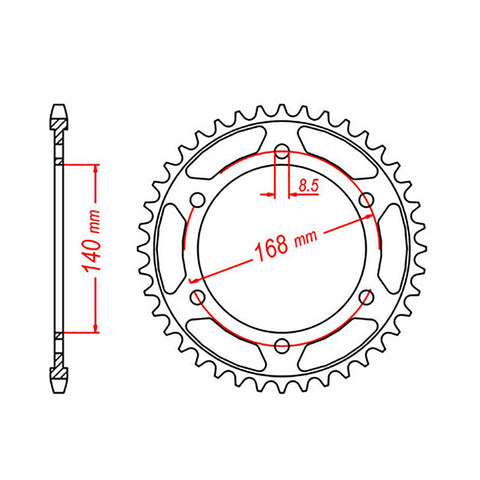 SPROCKET REAR MTX6 47T #525 8.5mm holes