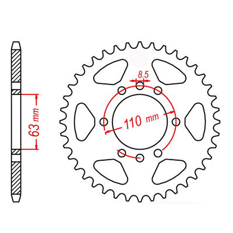 SPROCKET REAR MTX 890 45T #520