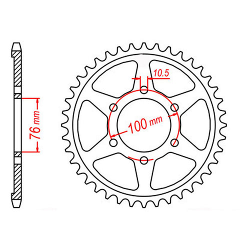 SPROCKET REAR MTX 816 46T #530