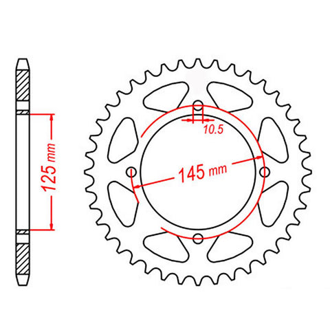 SPROCKET REAR MTX 857 39T #520