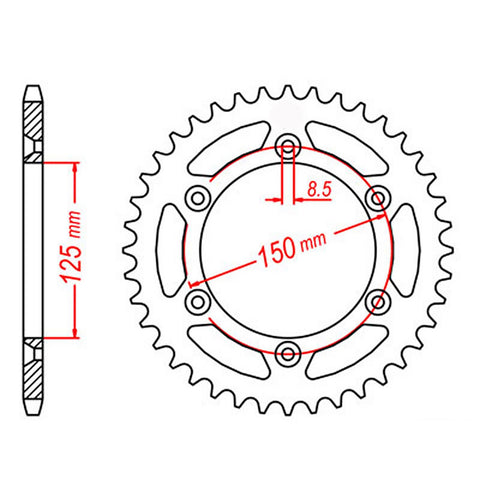 SPROCKET REAR MTX 897 48T #520