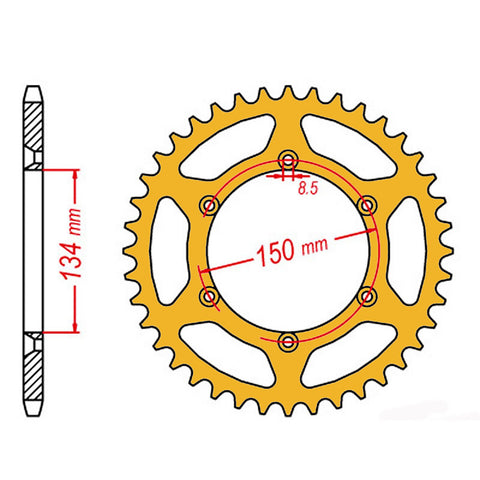 SPROCKET REAR MTX ZERO Aluminium 460 47T #520 GLD