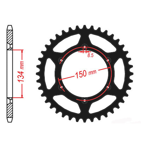 SPROCKET REAR MTX ZERO Aluminium 460 50T #520 BLK