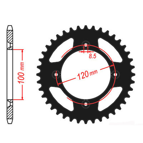 SPROCKET REAR MTX ZERO Aluminium 798 48T 428 BLK